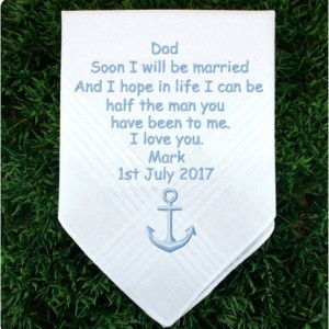 Embroidered Father of the Groom Wedding Handkerchief, Customized personalised personalized Hankies Wedding Gift