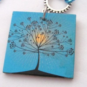 Tree Necklace Tree Pendant Delicate Tree at Sunrise Necklace Blue Necklace Extra Long Necklace Two Ways to Wear Versatile Necklace