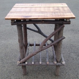 Plank Top Twig Table ( free set of twig candle holders with purchase )