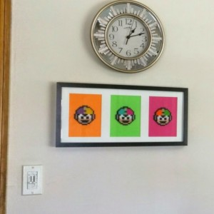 Neon Mega Man Trio Framed & Matted Perler Art NES Retro Gamer Gifts- Retro- Geekery- Fan Art