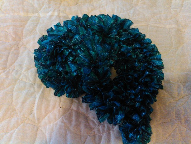 Blue water color ribbon scarf