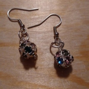 Multicolored metal ball rhinestone earrings