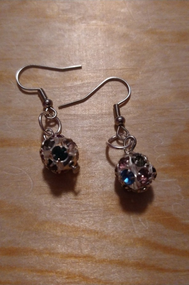 Multicolored metal ball rhinestone earrings