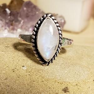Beautiful Rainbow Moonstone Ring