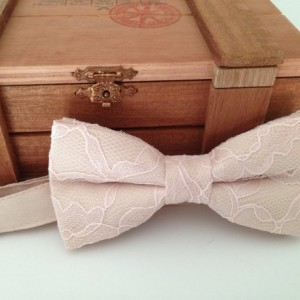 Champagne bow tie with Blush Lace Overlay