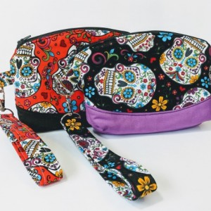 Sugar Skull Wristlet, Women's Grab n Go Wristlet, Cell Phone Wallet, Fabric Wristlet, Small Handbag, Gift for her