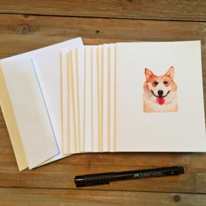 Corgi Cards with envelopes, Corgi Gifts, Blank Note Cards, Stationery Set, Custom Stationery, Stationery Gift, Note Card Set, Note Cards