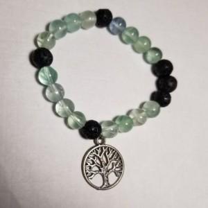 Bracelet Oil Diffuser Tree of Life Lava Rock Prayer Beads Elastic Band