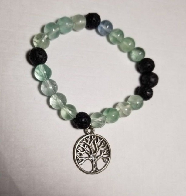 Bracelet Oil Diffuser Tree of Life Lava Rock Prayer Beads Elastic Band