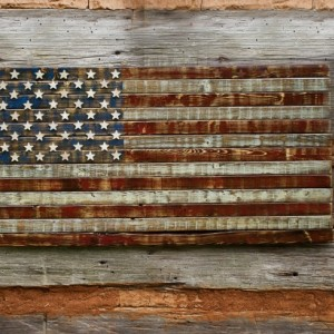 Rustic, Distressed, Wooden American Flag