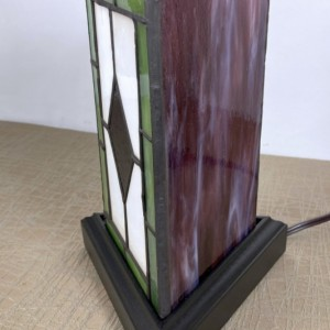 Victorian Diamond 3 Sided Stained Glass Lamp