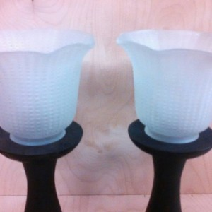 Pair of Turned Tealight Candle Holders With Glass Shades