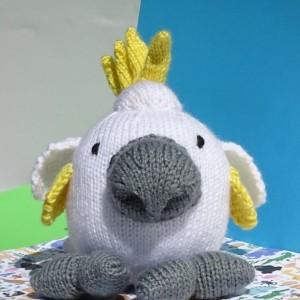 Hand Knit Cockatoo, Stuffed Toy, Hand Knitted Bird, Jungle Bird, Plush Toy, Children Toy, Plush Bird, Kids Toy, Handmade, Ready To Ship,