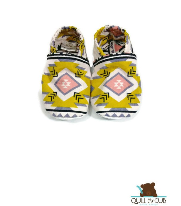 Tribal Aztec Print Ankle Booties- Baby Booties- Toddler Booties- Baby Shoes- Toddler Shoes- Soft Soled Shoes- Grip Soled Shoes- Crib Shoes