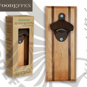 Bottle Opener Magnetic Cap Catcher - Handcrafted Alder Wood with Maple Inlay with Antique Bronze Opener