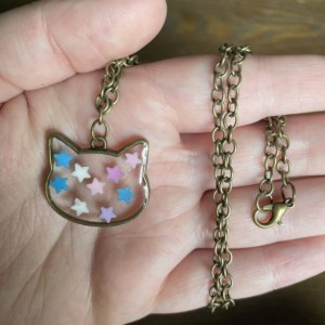 Cat Pendant Necklace With Stars
