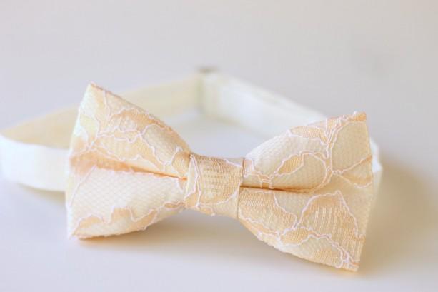 Peachy Fairytale Bow Tie - Peach Bow Tie - Peach Ivory Bow Tie - Peach Lace Bow Tie - Mens Peach Bow Tie - Kids Bow Tie - Groom Bow Tie