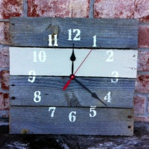 Reclaimed Aged Pallet Wood Wall Clock , Hand Painted Upcycled Repurposed (74 colors)