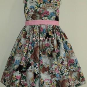 NEW Handmade Daisy Kingdom Cats W/Floral Dress Custom Size Dress