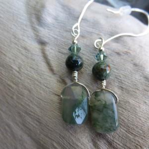 Handmade Agate and Sterling Earrings