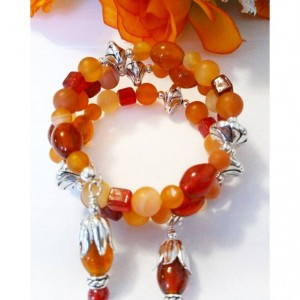 Orange Peel Jewelry Carnelian Gemstone Bracelet, Wrap Bracelet, Coil Bracelet, Godmother Bracelet, Stone Bracelet, Beaded Jewelry Sale