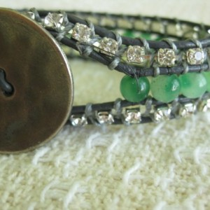 Leather wrap beaded cuff bracelet in green and rhinestones, designer look