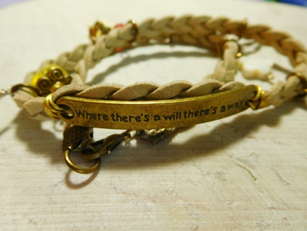 "Natural suede leather braided bracelet with bronze tone plate connector said ""Where there's a will there's a way"" and 8 charms #B00226"