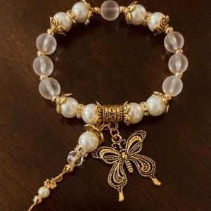 """""""Transformation"""" Butterfly Charm Stretch Bracelet"""