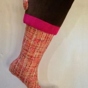 Pink Christmas Stocking, Christmas Stocking, Pink, Red, Orange, Cream, Brown Stocking, Cream Stocking, Orange Stocking