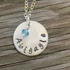 Hand stamped sterling silver personalized 3/4 inch pendant with birthstone crystal- Moms jewelry sterling silver cable chain