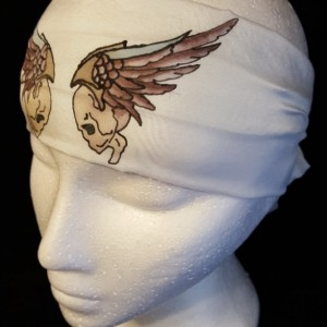 Skull & Wings 8x54 8mm Habotai Silk Headband Hand Painted/Dyed using the French Serti Technique