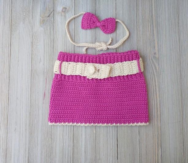 Crochet set baby girl. Crochet photo props. Skirt and headband set.