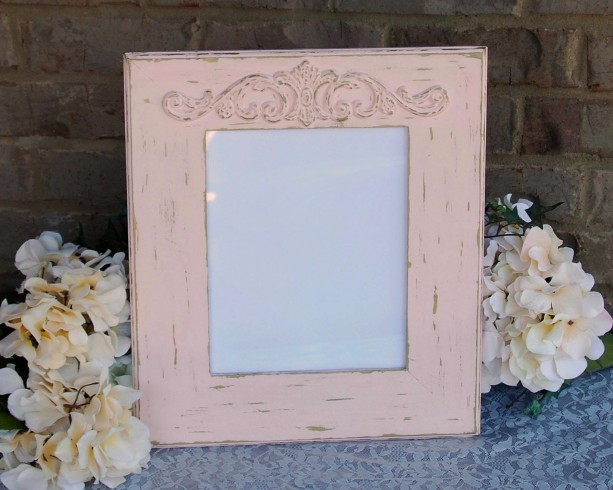 Distressed light peony pink & vintage gold 8x10 picture frame | aftcra