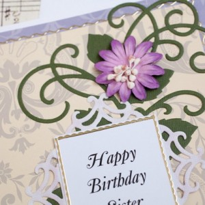 Sister Birthday Card, Sister in Law Birthday Card, Handmade Card, Floral Card, Purple Birthday Card, Family Birthday, 3D Birthday Card