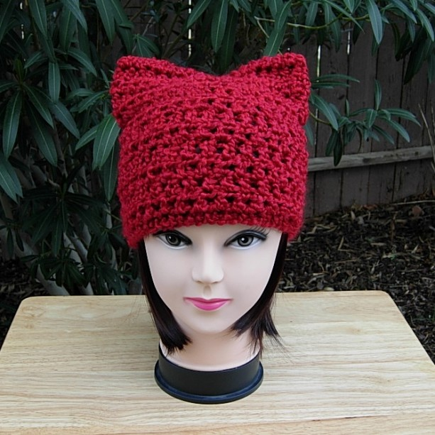 Solid Red PussyHat, Pussy Cat Hat with Ears, Pussy Hat, Extra Soft Acrylic Handmade Crochet Knit Winter Women's March Protest Beanie, Ready to Ship in 2 Days