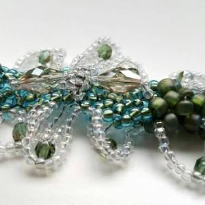 Whimsical woven beaded bracelet