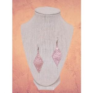 Hammered Copper Diamond Shaped Earrings