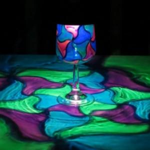 Hand Painted Solar Green/Blue/Purple Mosaic Luminary