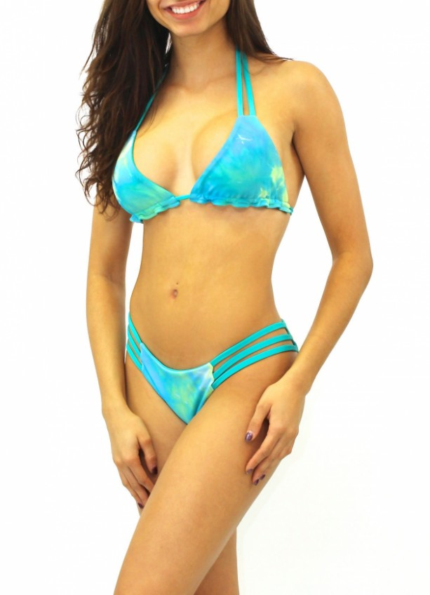 Reversible Jade Green Tie Dye Strappy Triangle Top