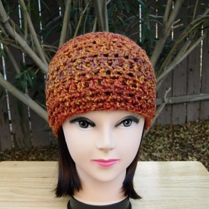 Dark Burnt Orange, Brown, Rust Lightweight Beanie Extra Soft Acrylic Crochet Knit Winter Women's Men's Hat Skullcap, Ready to Ship in 3 Days