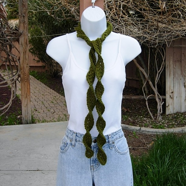 Women's Solid Dark Olive Green Skinny SUMMER SCARF Small Soft Spiral Knit Narrow Lightweight Twisted Crochet Knit, Ready to Ship in 2 Days