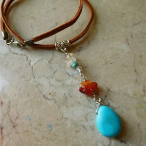 Brown suede leather Choker Necklace with Turquoise stones, charosky crystal beads,  #N00110