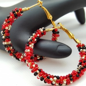 Aurora Red Beaded Hoop Earrings, Black Gold Wire Wrap Earrings, Birthday Anniversary Presents for Girlfriends Lovers Wives Best Friend
