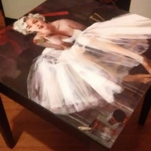 Sugar Coated Marilyn Monroe Custom Ballerina Gorgeous Side End Table! Made to order! Furniture Art! Old Hollywood Glam