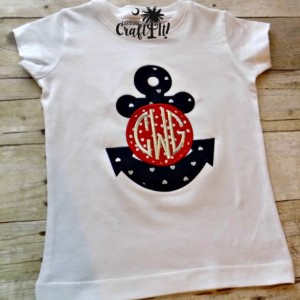 Girls Anchor T-shirt,Girls Monogramed T-shirt, Red, White & Blue, Toddlers, Infants, Fourth of July, Embroidered, Personalized, Appliqued