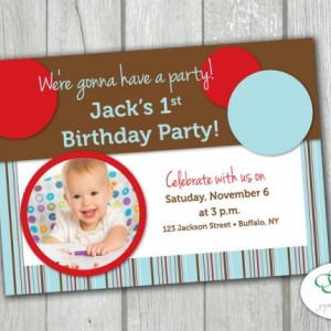 Circles and Stripes Kids Birthday Party Invitation with Photo - Personalized and Printable 5x7 size