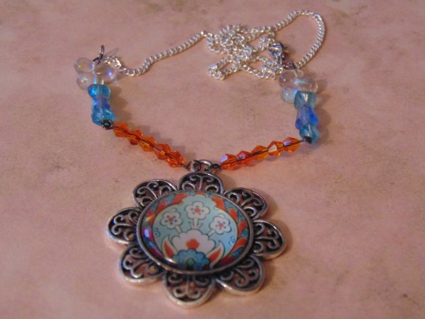 Decorative Floral Silver White Light Blue Turquoise Glass Pendant Orange Swarovski Crystal Blue Turquoise Clear Iridescent Beads Necklace