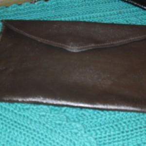 Hand made Soft Leather Money Bag, Envelope Bag, Auto Document Holder. Black/Tan/Brown