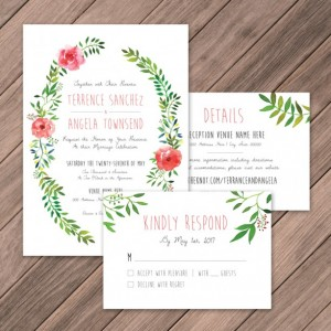 Watercolor Wreath Wedding Invite, DIY Invites, Rustic Wedding Invites, Summer/Spring Invites, Whimsical Wedding Invites, Instant Download