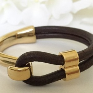 Distressed Brown Leather Gold Half Hook Clasp Bracelet